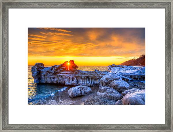 Sunrise North Of Chicago Lake Michigan 1-12-14 Framed Print by Michael  Bennett