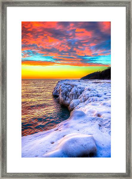 Sunrise North Of Chicago Lake Michigan 1-14-14 Framed Print by Michael  Bennett