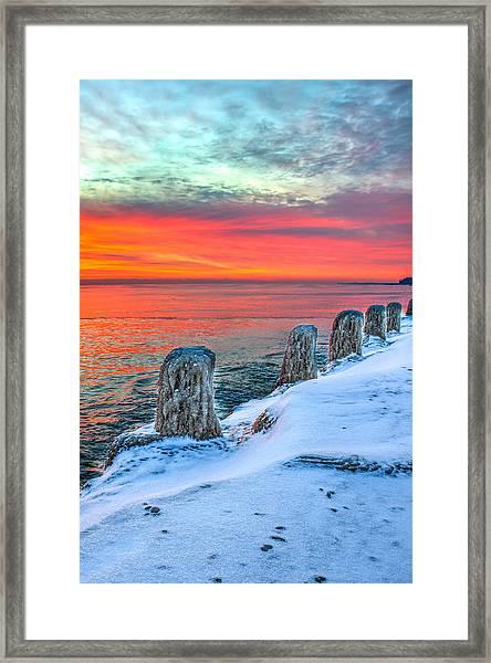 Sunrise North Of Chicago Lake Michigan 1-18-14 Framed Print by Michael  Bennett