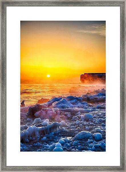 Sunrise North Of Chicago Lake Michigan 1-3-14  Framed Print by Michael  Bennett