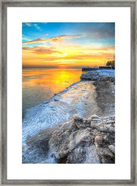 Sunrise North Of Chicago Lake Michigan 1-4-14 001 Framed Print by Michael  Bennett