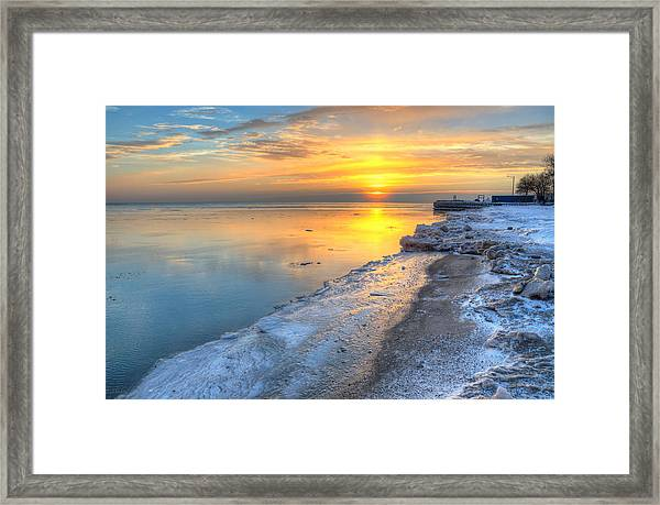 Sunrise North Of Chicago Lake Michigan 1-4-14 003 Framed Print by Michael  Bennett
