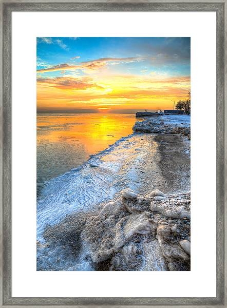 Sunrise North Of Chicago Lake Michigan 1-4-14   Framed Print by Michael  Bennett