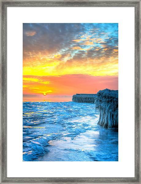 Sunrise North Of Chicago Lake Michigan 1-9-14 001  Framed Print by Michael  Bennett