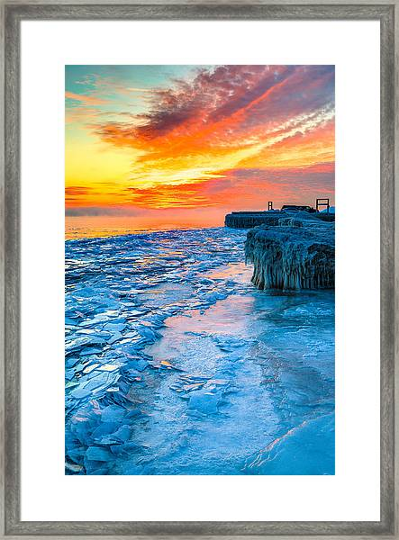 Sunrise North Of Chicago Lake Michigan 1-9-14 002  Framed Print by Michael  Bennett