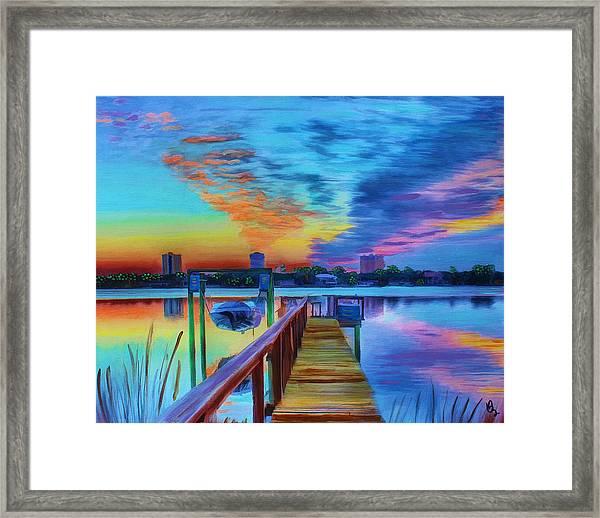 Sunrise On The Dock Framed Print