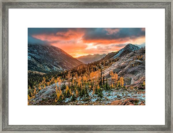 Sunrise On The Larches Framed Print