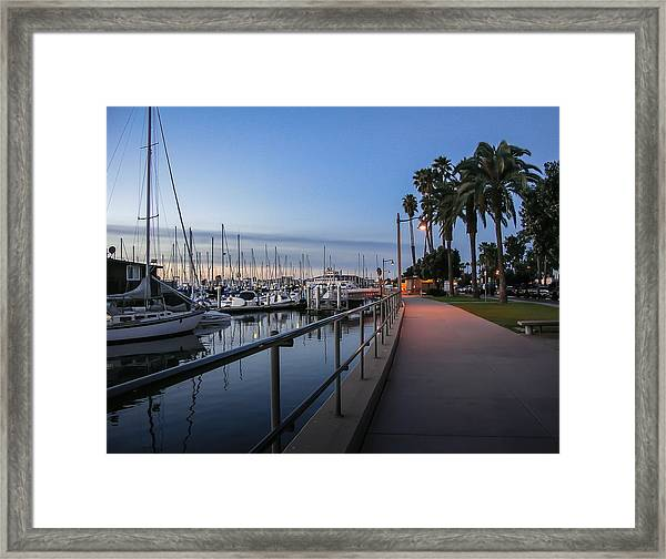 Sunrise Over Santa Barbara Marina Framed Print
