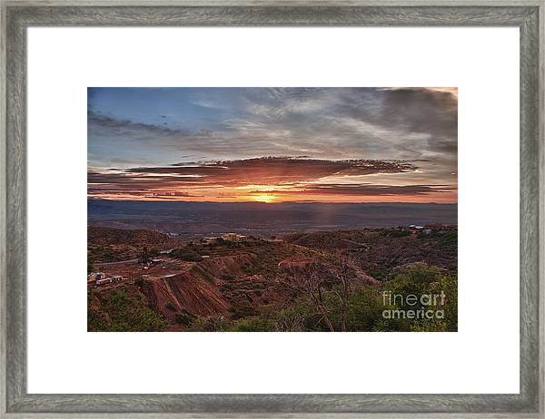 Sunrise Over Sedona With The Jerome State Park Framed Print