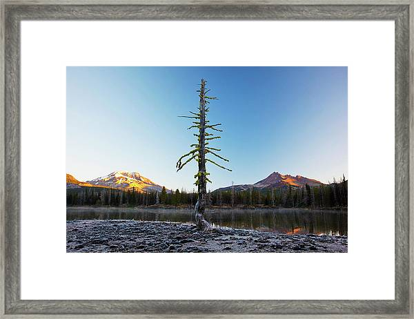 Sunrise Over Sparks Lake And The Three Framed Print