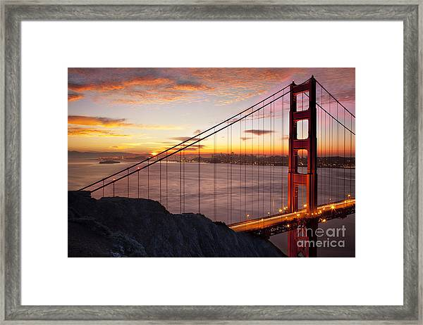 Framed Print featuring the photograph Sunrise Over The Golden Gate Bridge by Brian Jannsen