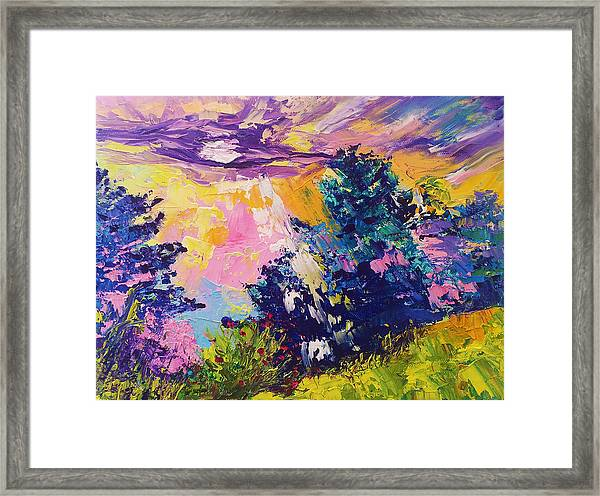 Sunrise Painting Oil On Canvas Ekaterina Chernova Framed Print