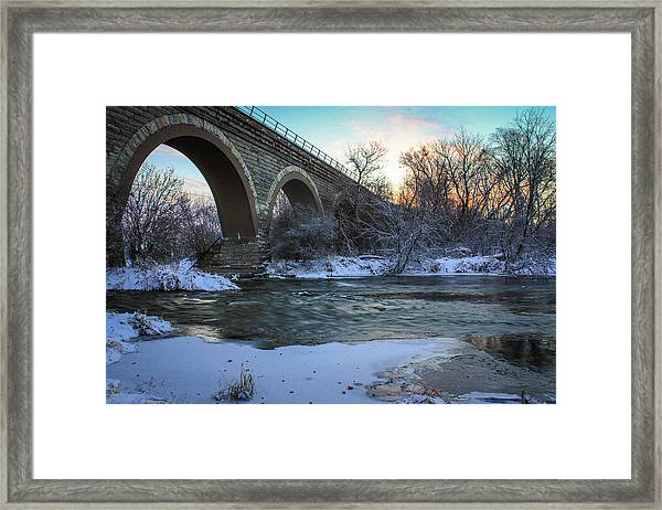 Sunrise Under The Bridge Framed Print