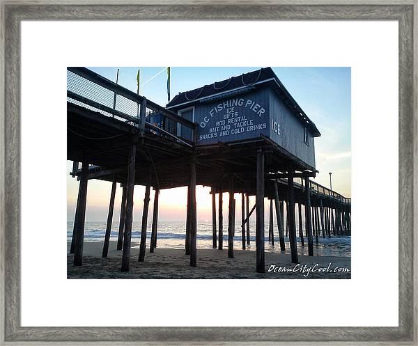 Sunrise Under The Oc Fishing Pier Framed Print