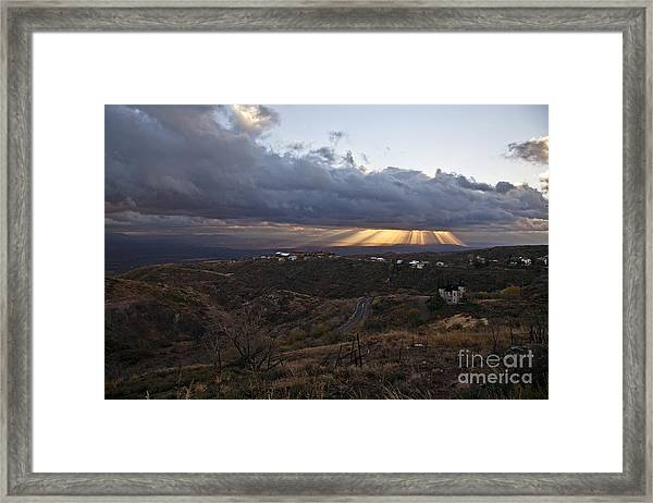 Suns Rays After Sunrise From Jerome Arizona Framed Print