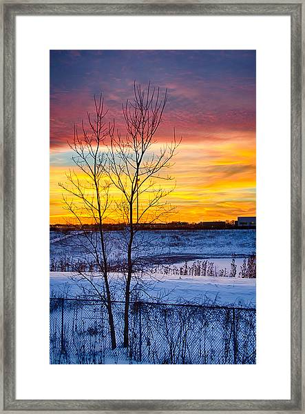 Sunset 1-3-14 Northern Illinois 002  Framed Print by Michael  Bennett