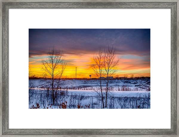 Sunset 1-3-14 Northern Illinois 003 Framed Print by Michael  Bennett