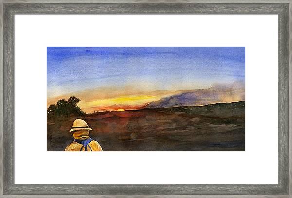 Sunset 18 Fires Framed Print