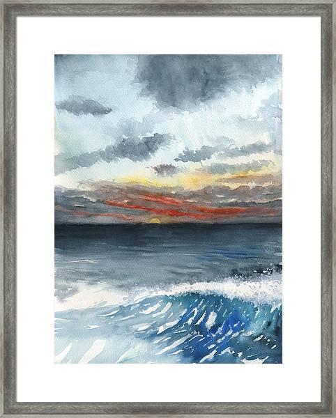 Sunset 32 Behind La Jolla Cove Framed Print