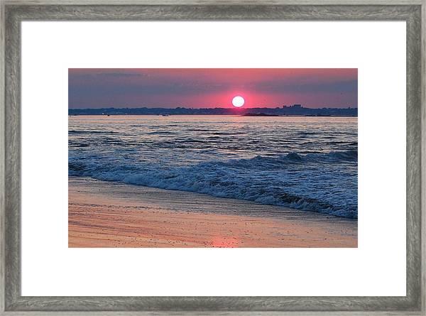 Sunset And Beach Framed Print