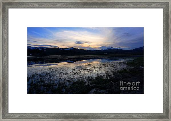 Sunset At A Lake Near Mammoth In Yellowstone Framed Print