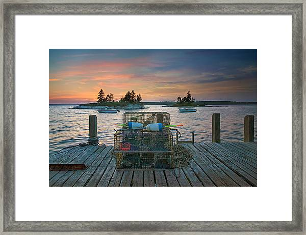 Sunset At Allen's Dock Framed Print