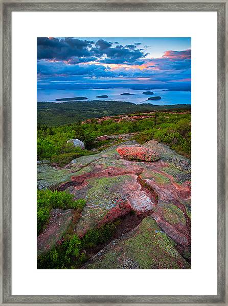 Sunset At Cadillac Mountain Framed Print
