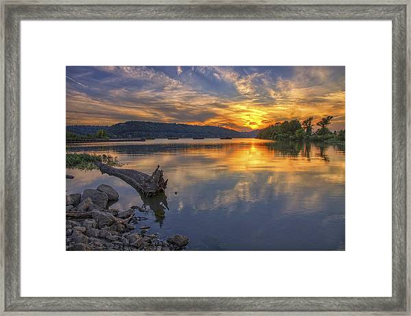 Sunset At Cook's Landing - Arkansas River Framed Print