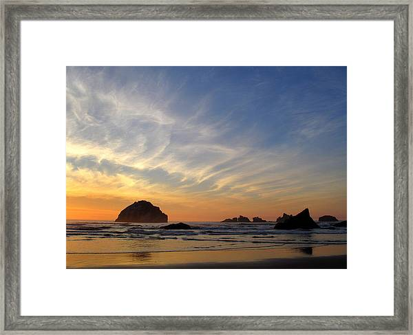 Sunset At Face Rock Framed Print