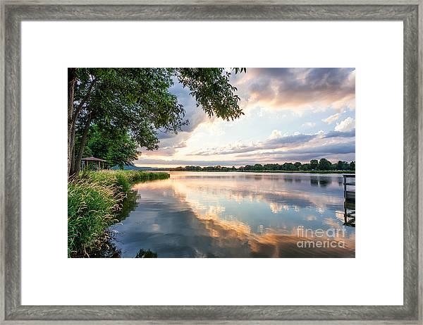Sunset At Fishing Pier Framed Print