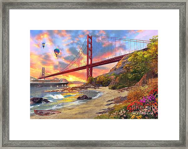 Sunset At Golden Gate Framed Print