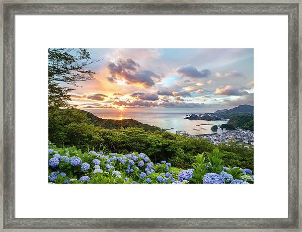 Sunset At Hydrangea Hills Framed Print by Tommy Tsutsui