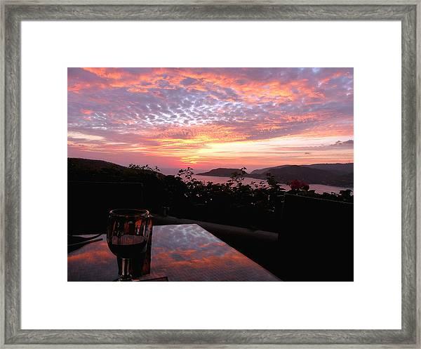 Sunset Over Zihuatanejo Bay Framed Print