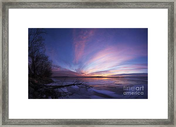 Sunset At Lovewell Lake Kansas Framed Print