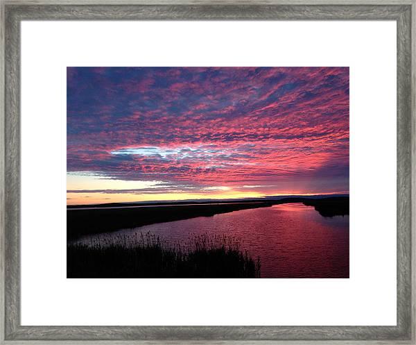 Sunset At North Pool Framed Print by Nancy Landry
