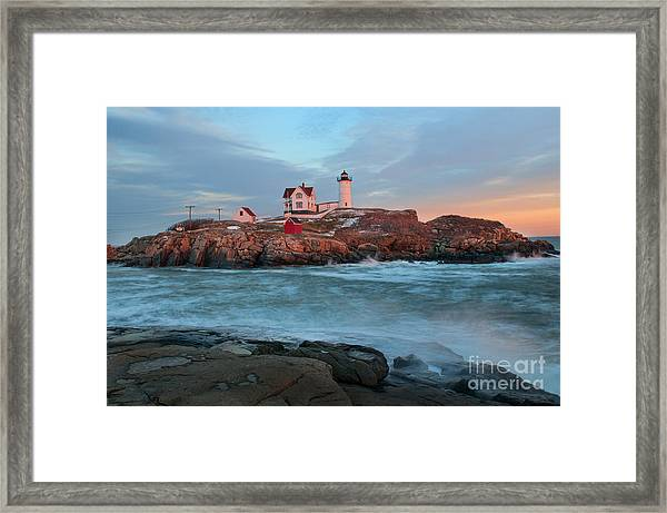 Sunset At Nubble Lighthouse Framed Print