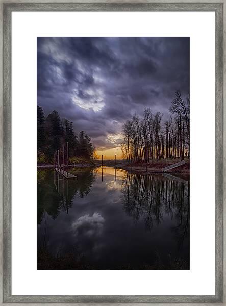 Sunset At Rooster Rock Framed Print