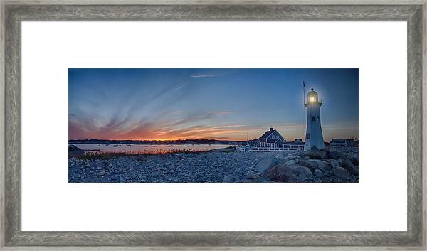 Sunset At Scituate Light Framed Print