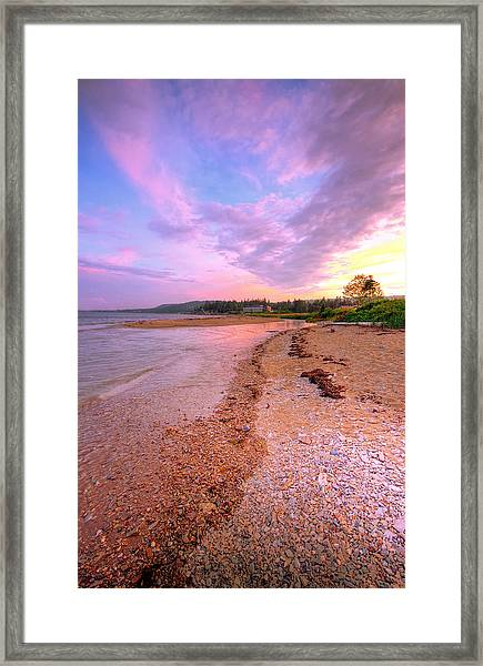 sunset at Stanley Beach. Framed Print