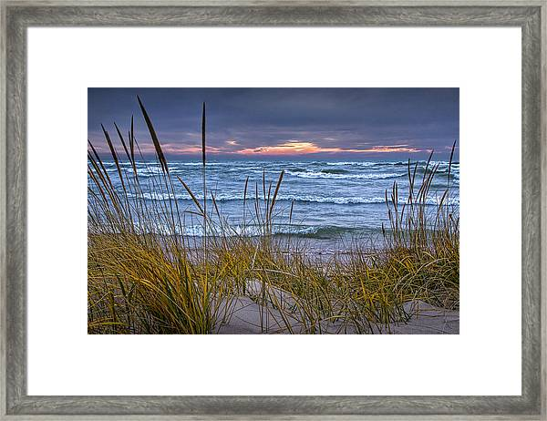 Sunset On The Beach At Lake Michigan With Dune Grass Framed Print