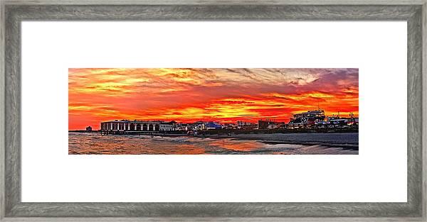 Sunset At The Music Pier Framed Print