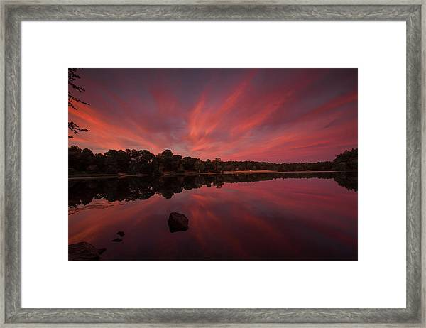 Sunset At The Pond Framed Print