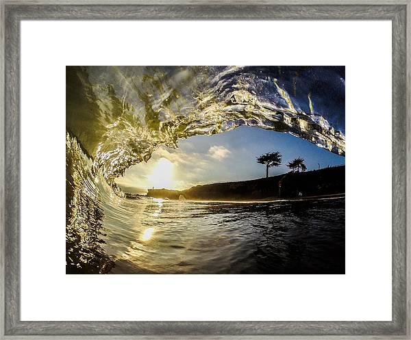 Sunset Barrel Framed Print by David Alexander