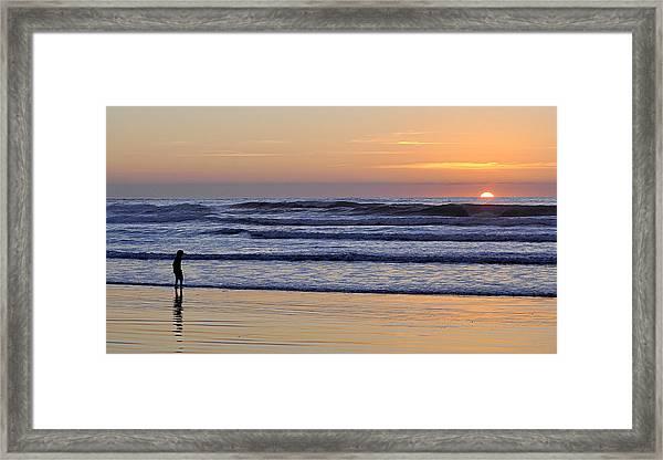 Sunset Beach Stroll  Framed Print