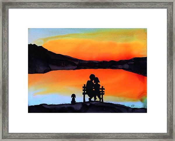 Sunset Bench Framed Print