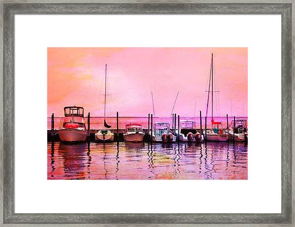 Sunset Boats Framed Print