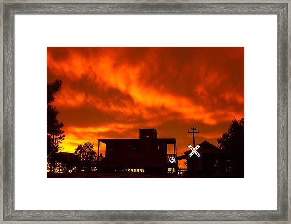 Sunset Caboose Framed Print