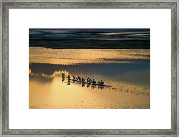 Sunset Crossing Framed Print
