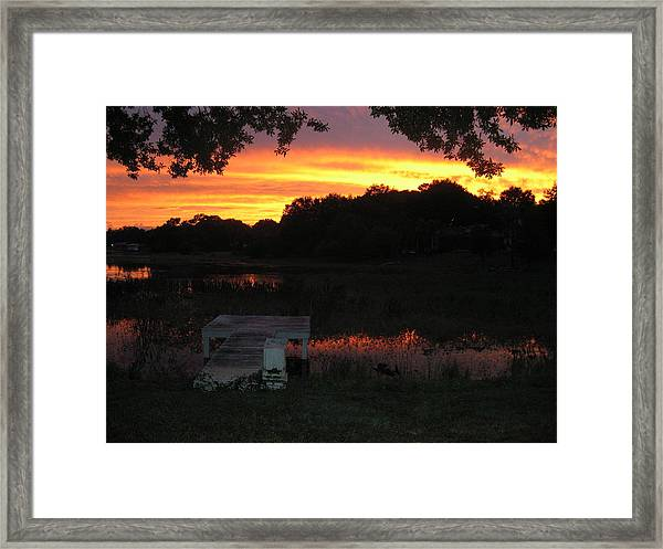 Framed Print featuring the photograph Sunset Dock by Barbara Von Pagel