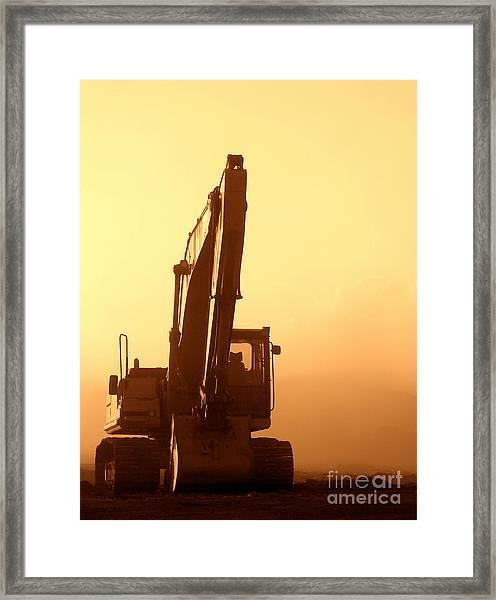 Sunset Excavator Framed Print